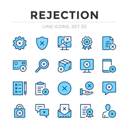 Rejection vector line icons set. Thin line design. Outline graphic elements, simple stroke symbols. Rejection icons Ilustração