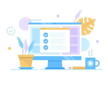 Checklist, online survey. Vector illustration. Computer with check marks on screen. Complete task, agreement, quality control, electronic voting, questionnaire concepts