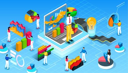 Team works to reach goal flat 3d isometry isometric business concept web vector illustration. Four businessmen pushing target piece part to connect into whole one. Creative people collection.
