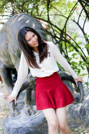 bib: girl in red bib Stock Photo