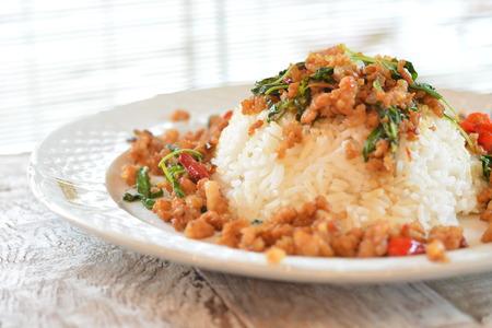 santa cena: fried rice with basil Foto de archivo