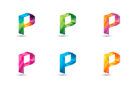 Modern letter P template colorful and clean design.