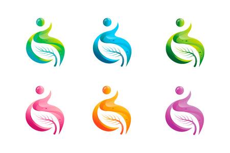 egészségügyi ellátás: Egészségügyi ellátás sablon modern és tiszta design. Illusztrációk és szimbólumok az egészség és a boldog élet.