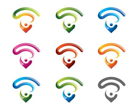 wifi internet: Localizador insignia internet inal�mbrico plantilla moderna s�mbolo inal�mbrica Vectores