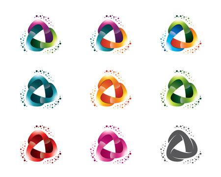 抽象的な三角形メディア テンプレートのセットです。円の三角形のシンボル ベクトル。  イラスト・ベクター素材