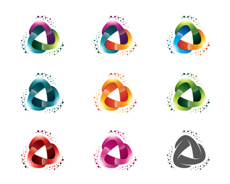 triple: Set of abstract triangle media template. Circle triangle symbol vector. Illustration