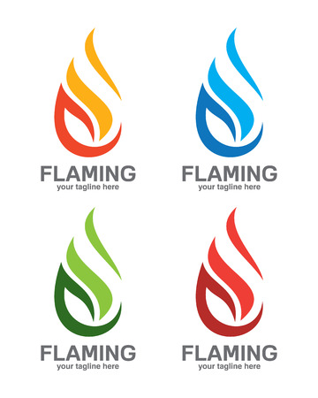 fogatas: Plantilla de logotipo de la llama. Petróleo y gas logotipo vectorial. Diseño de Fuego del vector.