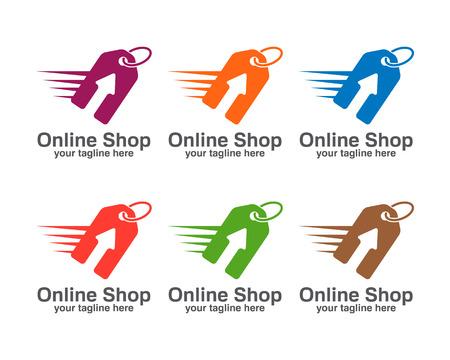 online logo: Online shop logo template. Price tag vector design. Arrow and price tag symbol. Store logo design.