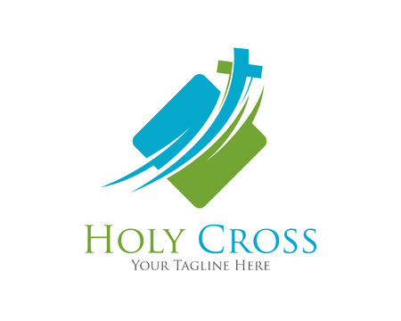 jesus in heaven: Cross vector logo design template.  Template logo for churches and Christian organizations cross . Calvary cross church logo .