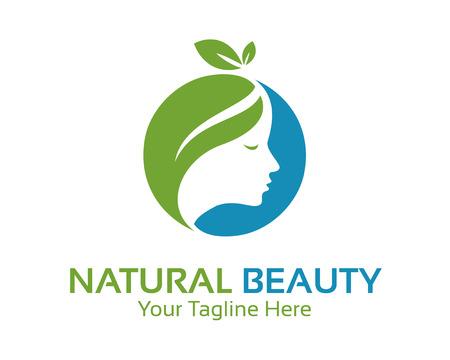 美女: 自然之美的標誌設計載體。水療和治療標誌設計模板。醫療設計載體。美容院的標誌。