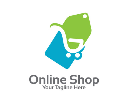 shop: Online store logo design vector. Shopping cart and price tag logo design concept. Price tag logo template.