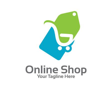 Online winkel logo ontwerp vector. Winkelwagen en prijskaartje logo design concept. Prijskaartje logo template. Stock Illustratie
