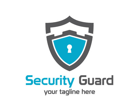 badge shield: Security guard logo design vector. Security protection shield symbol . Secure shield icon vector. Privacy lock icon .