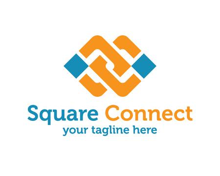 ENTREPRISE abstrait vecteur de l'unité modèle de conception de logo. Forme de symbole carré Lié. Vecteur de conception de l'unité logo Square.