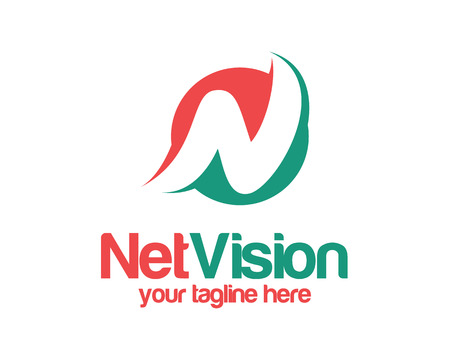 carta: Letra N plantilla de logotipo. Simple y limpia de la letra N vector logo. Círculo letra N logotipo de la plantilla de diseño.