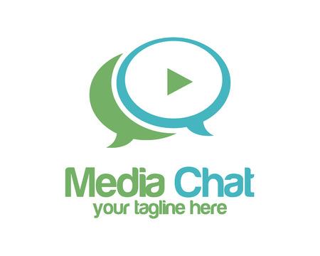 Médias dans le chat logo modèle de vecteur de conception. Speech bubble symbole vecteur. Les médias jouent conception vecteur de logo. Simple propre logo conception de vecteur de chat.