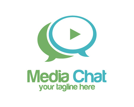 video chat: Media chat logo design vector template. Speech bubble symbol vector . Media play logo design vector. Simple clean design chat logo vector.