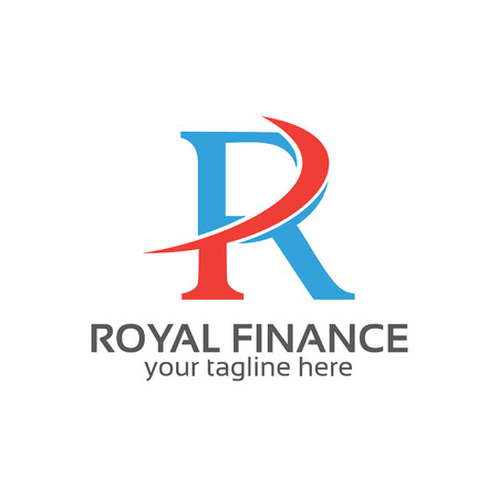 accounting design: Letter R logo design vector. Letter R symbol vector in two colors . Simple modern clean letter R logo template.