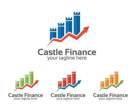 finances: Business corporate castle finance logo design template. Simple and clean flat design of financial illustration vector .