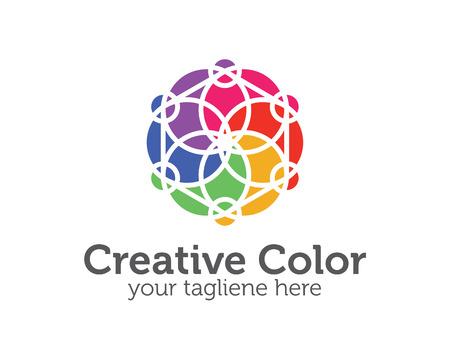 simple logo: Business corporate Spectrum color logo design template. Simple and clean flat design of colorful spectrum illustration vector .