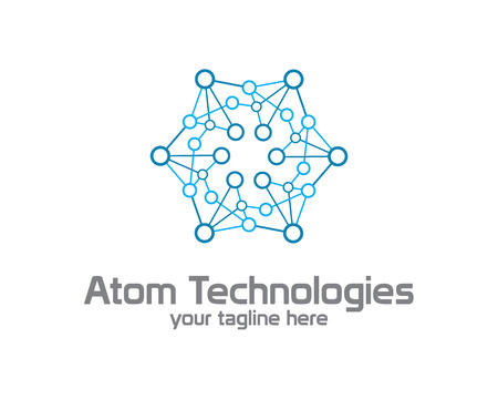 Business corporate Atom nuclear technology  logo design template. Simple and clean flat design of atom illustration vector .