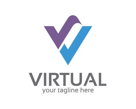 Collectief letter V ontwerp sjabloon. Eenvoudig en schoon platte ontwerp van de letter V logo vector template. Letter V logo software bedrijf en technologie.