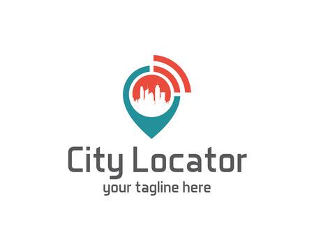 bussola: Città locator modello di disegno vettoriale. Pin mappe simbolo vettore. Icona del Gps disegno vettoriale. Semplice e pulito il design localizzatore gps logo vettoriale. Vettoriali