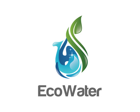 Eco water logo design vector template. Water drop symbol vector . Green ecology logo design vector. Simple clean design water vector.  イラスト・ベクター素材