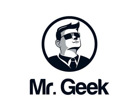 geek: Friki hombre de negocios de dise�o de logotipo vectorial. Cara ilustraci�n vectorial con gafas. Hipster bigote ilustraci�n vectorial.