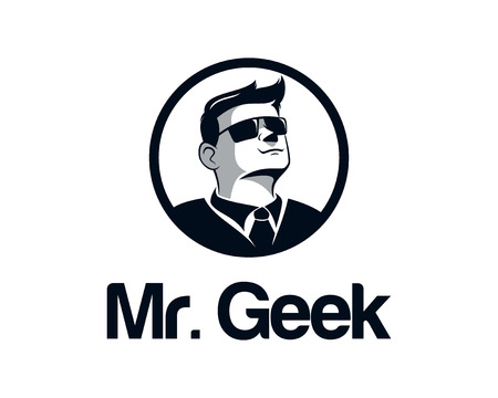 Geek business man logo design vector. Face illustration vector with glasses. Hipster mustache illustration vector. Illustration