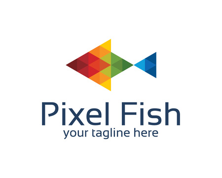 multimedia: Pixel fish logo design with triangle style. Abstract colorful pixel fish symbol vector.