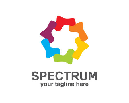 printing house: Spectrum logo design with rainbow color. Circle loop symbol vector. Abstract colorful spectrum symbol vector. Abstract bright circle infinite loop icon logo. Spectrum circle sign. Illustration