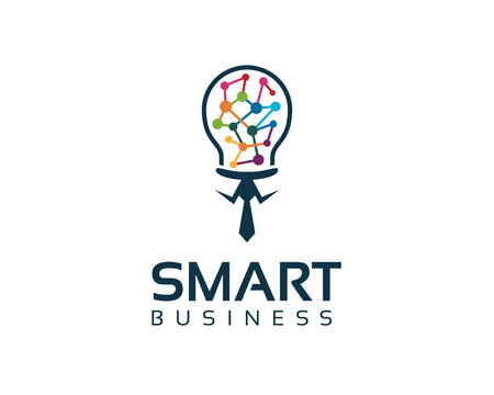 Business corporate smart business  logo design template. Simple and clean flat design of bulb illustration vector .