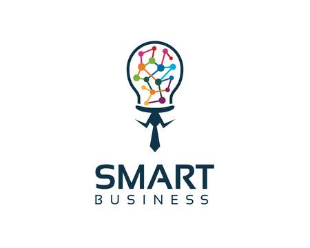 Affari logo aziendale modello di progettazione intelligente aziendale. Design piatto semplice e pulito di lampadina illustrazione vettoriale. Archivio Fotografico - 49829250