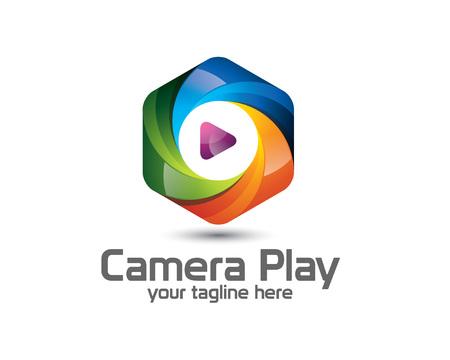photography logo: 3D camera photography logo design. Colorful  3D photo logo vector template. camera play concept with 3D style design vector.