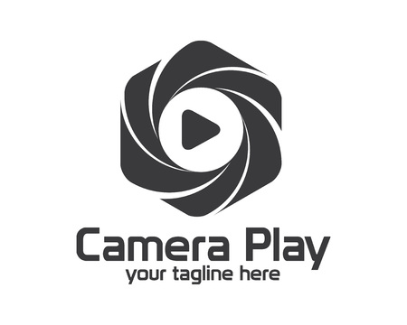 simple logo: Flat camera photography logo design. Simple clean photo logo vector template. camera play concept with flat style design vector. Illustration