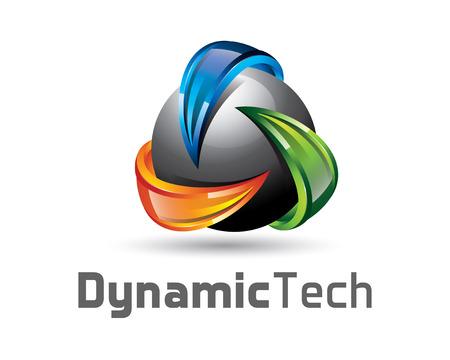 logo recyclage: conception de logo 3D avec la sphère et la flèche. Colorful cycle de 3D modèle logo de vecteur. concept de recyclage avec le vecteur de conception de style 3D. Illustration
