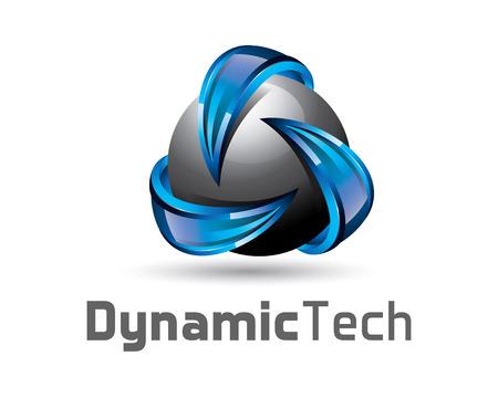 球体と矢印 3 D のロゴデザイン。カラフルな 3 D サイクル ベクトルのロゴのテンプレートです。3 D スタイル デザインのベクトルの概念をリサイクル