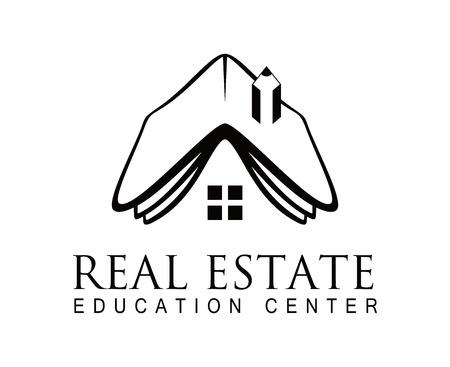 residential property: Modern Estate Abstract Vector Concept Icon or Logo Template.