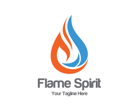 petroleum blue: Flame logo template.  Illustration