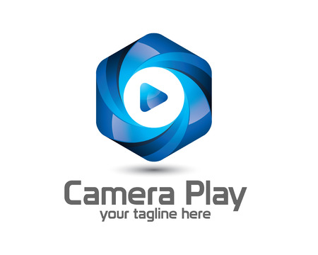 photography logo: 3D camera photography logo design.