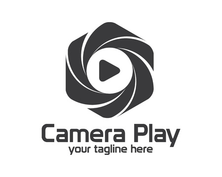 digital media: Flat camera photography logo design.  Illustration