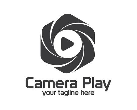photography logo: Flat camera photography logo design.  Illustration