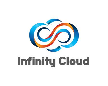 Infinity cloud logo design vector. Cloud logo template. 3D cloud symbol.