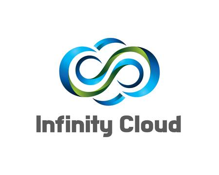 network logo: Infinity cloud logo design vector. Cloud logo template. 3D cloud symbol. Illustration