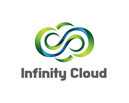 logo marketing: Infinity cloud logo design vector. Cloud logo template. 3D cloud symbol. Illustration
