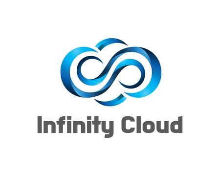 Infinity nuvola di design logo vettoriale. Nube marchio della mascherina. simbolo nuvola 3D.
