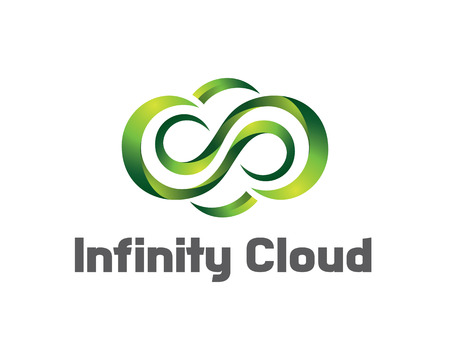 digital media: Infinity cloud logo design vector. Cloud logo template. 3D cloud symbol. Illustration