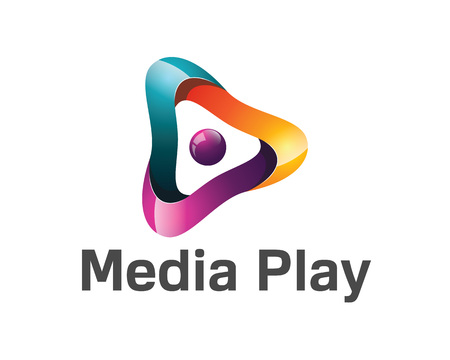 médias 3D jeu de conception de logo. Colorful médias 3D jeu logo vector template. Les médias jouent le concept avec le vecteur de conception de style 3D.