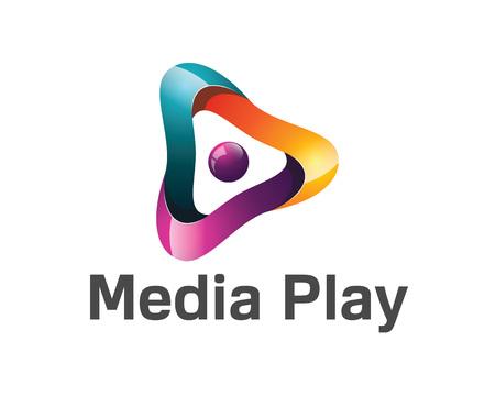 Médias 3D jeu de conception de logo. Colorful médias 3D jeu logo vector template. Les médias jouent le concept avec le vecteur de conception de style 3D. Banque d'images - 53142275